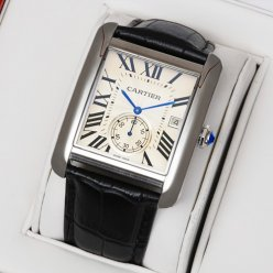 Cartier Tank MC swiss quartz watch steel silver dial black leather strap