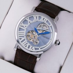 Rotonde de Cartier tourbillon mens watch replica steel blue-white dial