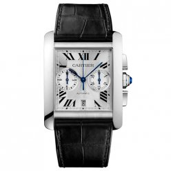 Cartier Tank MC Chronograph mens watch W5330007 steel silver dial
