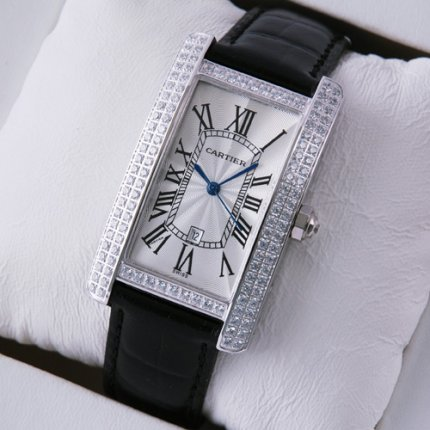 Cartier Tank Americaine diamond mens watch stainless steel