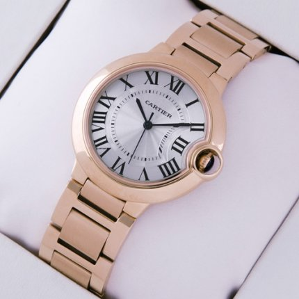 Ballon Bleu de Cartier swiss quartz watch replica 18kt pink gold