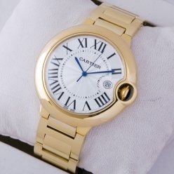 Ballon Bleu de Cartier watch silver dial 18k yellow gold