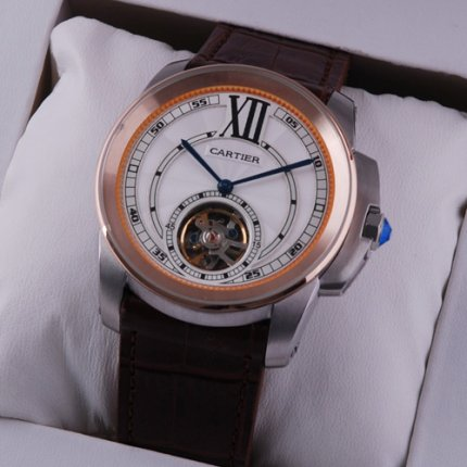 Calibre de Cartier Flying Tourbillon watch two-tone pink gold and steel