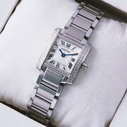 Cartier Tank Francaise 18K white gold women watch diamonds