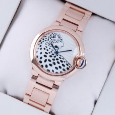 Ballon Bleu de Cartier swiss watch 18kt pink gold leopard-print dial