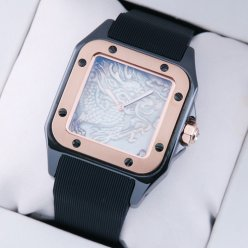 Cartier Santos replica 100 Limited Edition swiss watch for men black and pink gold