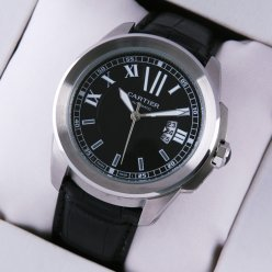 Calibre de Cartier quartz replica watch for men steel black dial