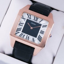 Cartier Santos Dumont18K pink gold watch replica black and silver dial