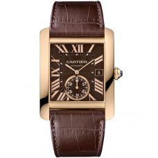 Cartier Tank MC automatic mens watch W5330002 pink gold brown dial