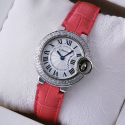 Ballon Bleu de Cartier small quartz watch pink leather strap