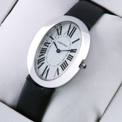 Cartier Baignoire steel black satin strap womens watch replica