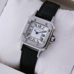Cartier Santos 100 quartz womens watch steel black leather strap