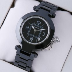 Pasha de Cartier replica black ceramic unisex watches black dial