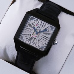 Cartier Santos Dumont Skeleton mens watch fake black PVD
