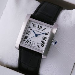 Cartier Tank Francaise watch men stainless steel black leather strap