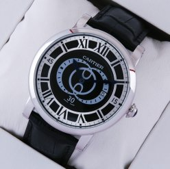 Rotonde de Cartier black dial replica watch for men