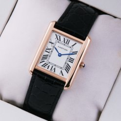 Cartier Tank Solo swiss mens watch replica 18K pink gold