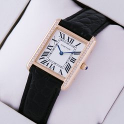 Cartier Tank Solo diamond watch for women 18K pink gold