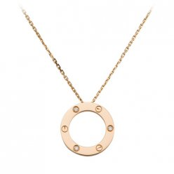 Cartier Love necklace pink gold diamonds B7014700