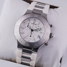 Cartier Must 21 Chronograph replica watch white rubber band for men