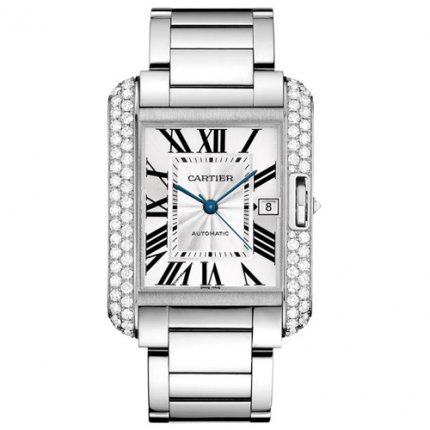 Cartier Tank Anglaise diamond bezel 18K white gold watch WT100010