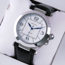 Cartier Pasha C replica mens watches black leather strap