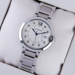 Ballon Bleu de Cartier steel watch with diamonds on dial