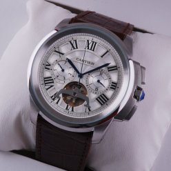 Calibre de Cartier Flying Tourbillon calendar watch steel white dial