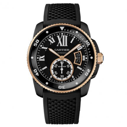 Calibre de Cartier Diver replica watch W2CA0004 ADLC steel and pink gold