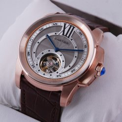 Calibre de Cartier Flying Tourbillon mens watch grey dial 18K pink gold