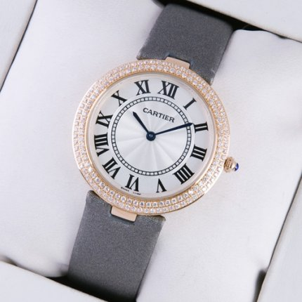 Cartier Ronde Solo diamond watch imitation for women pink gold