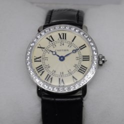 Cartier Ronde Louis diamond swiss watch for women steel black leather strap