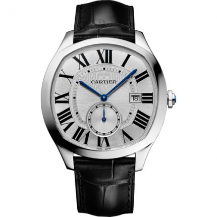 Drive de Cartier watches steel silver dial black leather strap WSNM0004