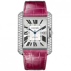 Cartier Tank Anglaise watch WT100023 18K white gold fuschia leather strap