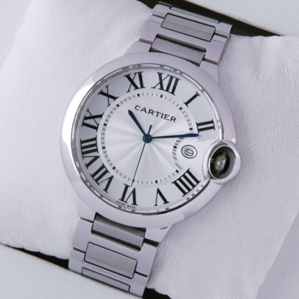 Ballon Bleu de Cartier watch silver dial stainless steel
