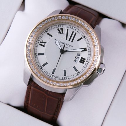 Calibre de Cartier quartz diamond watch two-tone pink gold and steel