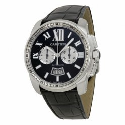 Calibre de Cartier Chronograph replica watch W7100060 steel black dial