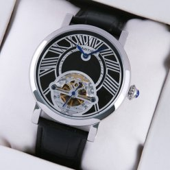 Rotonde de Cartier tourbillon black leather strap watch imitation for mens