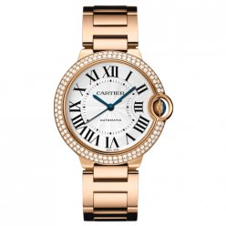 Ballon Bleu de Cartier swiss automatic watch 18kt pink gold diamonds bezel