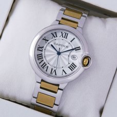 Ballon Bleu de Cartier date quartz watch 18kt yellow gold and steel