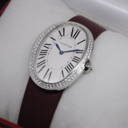 Cartier Baignoire swiss womens two rows of diamonds watches