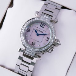 Cartier Pasha C replica diamond watches of pearl dial for women