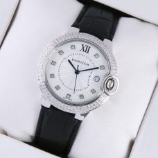 Ballon Bleu de Cartier steel watch with two rows diamonds