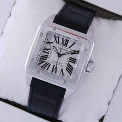Cartier Santos 100 stainless steel black alligator strap midsize swiss automatic watch replica