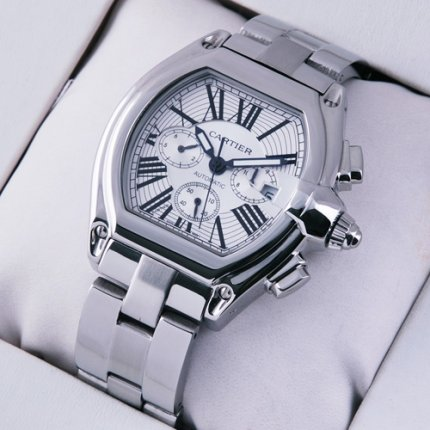 Cartier Roadster Chronograph silver dial replica watch for men