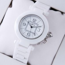 Pasha de Cartier replica white ceramic unisex watches white dial