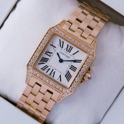 Cartier Santos Demoiselle pink gold diamond swiss watch fake for women