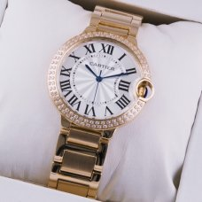 Ballon Bleu de Cartier quartz watch with diamonds 18kt pink gold
