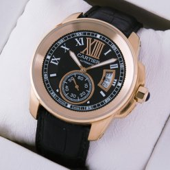 Calibre de Cartier pink gold automatic watch black dial