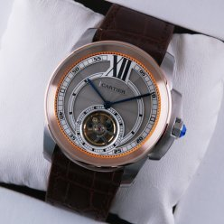 Calibre de Cartier Flying Tourbillon mens watch grey dial pink gold steel